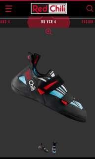 Red chili rock climbing shoe