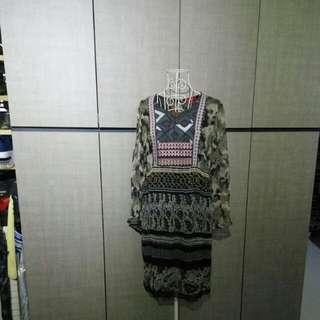 Rene Derhy camo printed embroidery dress