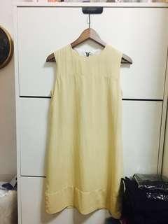 Pale beige pastel yellow shift dress