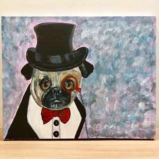 Handpainted Vintage Dog Portrait