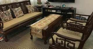 Antique Carved Sofa Set with Coffee Table