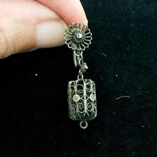 Vintage Antique Peranakan Straits Chinese Silver Clip On Earring (One Side Only)