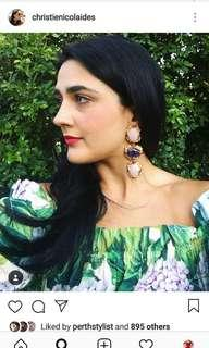 Hydrangea Printed Green Cold Shoulder floral Dress like Dolce Gabbana print