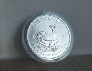 2018 South Africa 1 oz Silver Krugerrand Coin BU