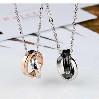 🚚 Couple Necklace - Double Love Ring