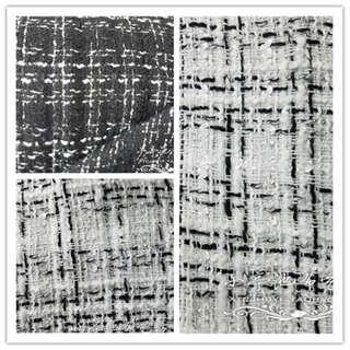 Tweed wool material per meter. Plaid wool. Chanel wool material.