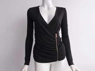 ARMANI EXCHANGE BLACK SIDE RUCHED ROSEGOLD ZIPPED L/S TOP