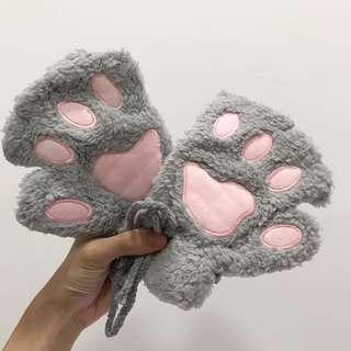 全新 灰色熊掌手套