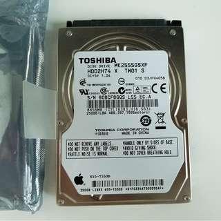 """原裝APPLE Macbook Hard Disk MK2555GSXF 250GB SATA/300 5400RPM 8MB 2.5"""" Hard Drive"""