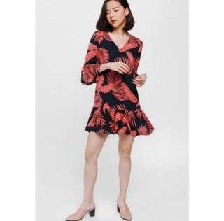 Love Bonito Roain Printed Bell Sleeve Ruffle Hem Dress
