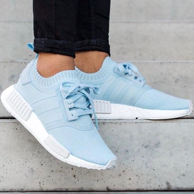 buy popular 299be af44f adidas nmd r1 primeknit ice blue, Women s Fashion, Shoes, Sneakers on  Carousell