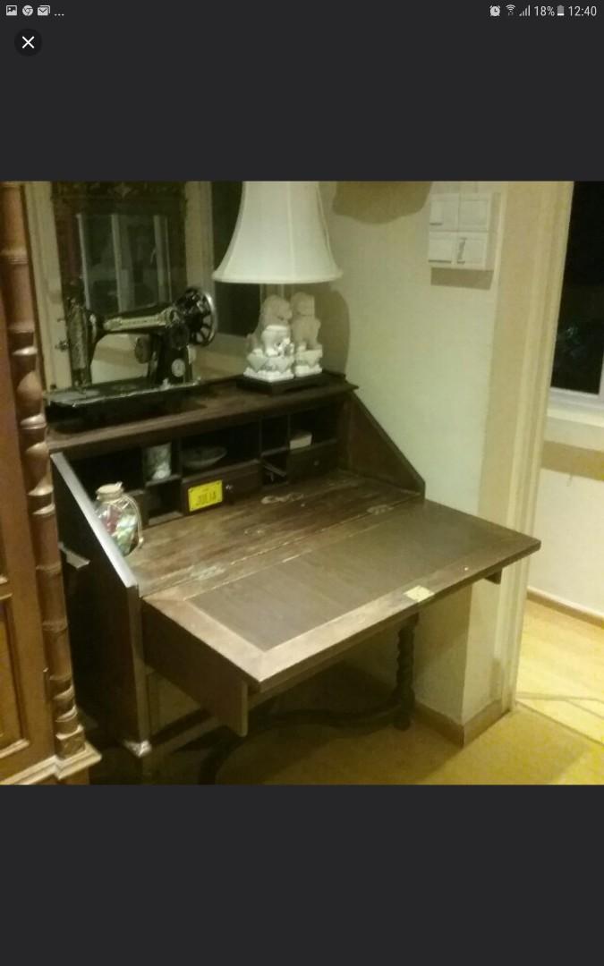 Bureau Retro Design.Antique Retro Vintage Colonial Bureau Saving Space Desk Furniture
