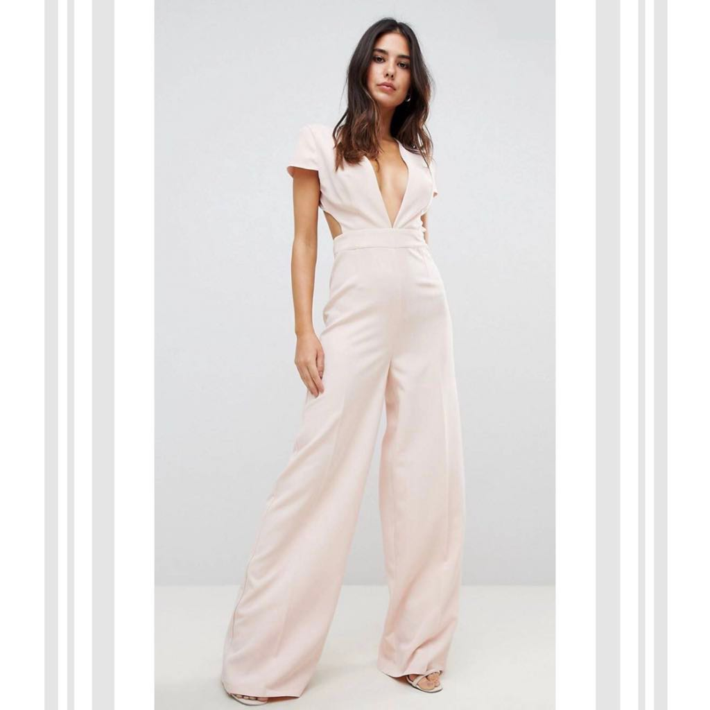 dd29c183fd ASOS Dusty Pink Plunge Neck Jumpsuit with Wide Leg and Open Back ...