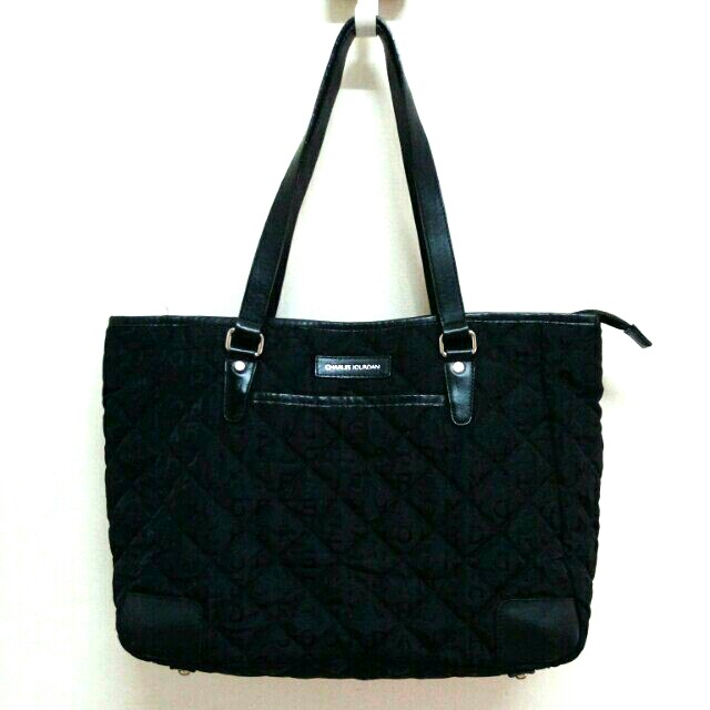 059e09704801 AUTHENTIC CHARLES JOURDAN QUILTED CANVAS SHOULDER BAG WITH LEATHER ...
