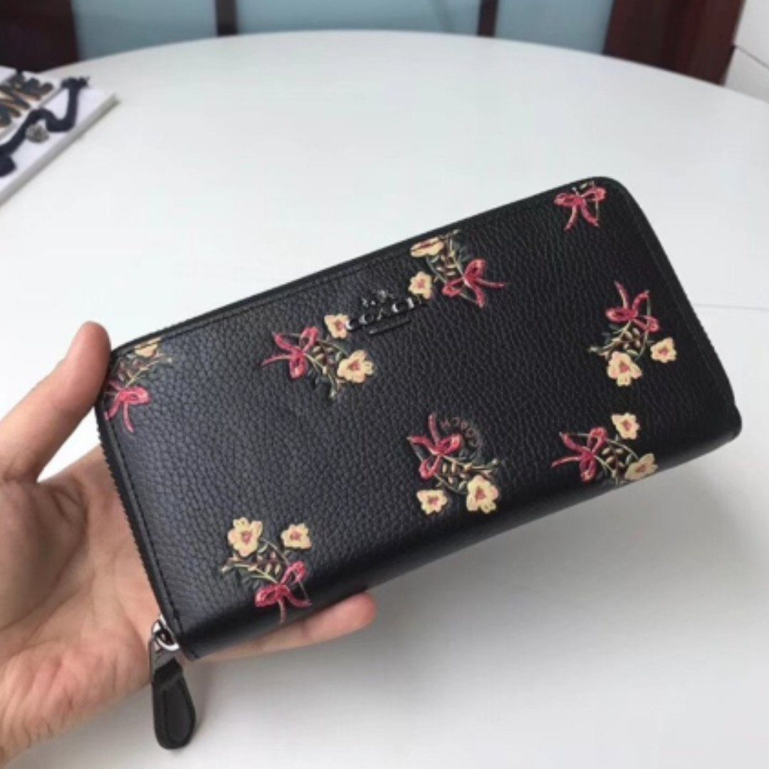 2b2c8f3910169 ... low price authentic coach accordion zip wallet with floral bow print  f28444 black womens fashion bags
