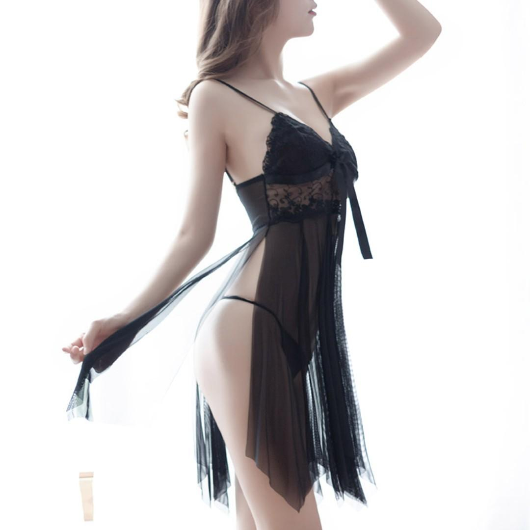 Black Sling High Fork Nightdress + Panties Perspective Lace Tulle Extreme Temptation Hot Mesh Sexy Pajamas Erotic Lingerie # 280