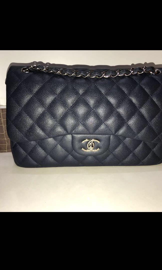 8b5e287b831f Chanel jumbo blue caviar flap bag, Luxury, Bags & Wallets, Handbags ...