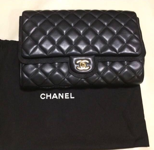 a2dfadeec2144d Chanel Lambskin Black Clutch GWH, Luxury, Bags & Wallets, Clutches ...