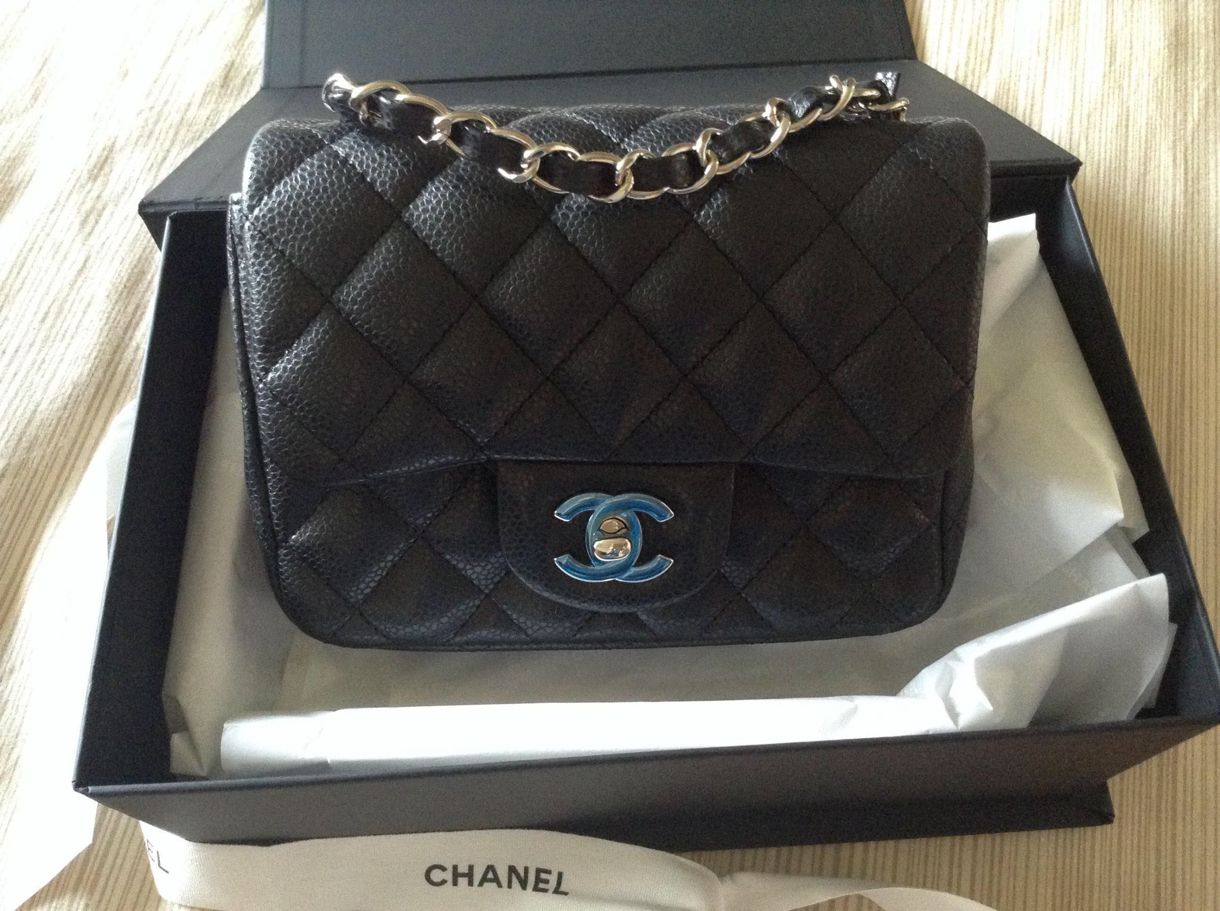 b16e1a77b108 Chanel Mini Square in Black Caviar SHW, Luxury, Bags & Wallets, Handbags on  Carousell