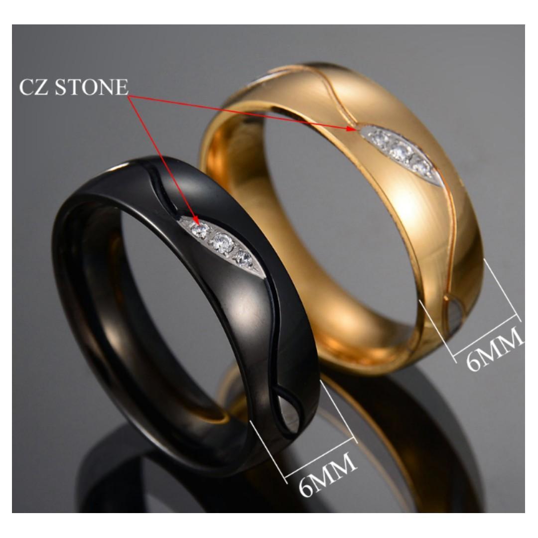 Couple rings CZ Stone Ring Gold / Black free engraving