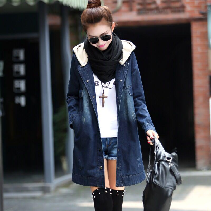 Denim Blue Coloured Buttons Down Hooded Korean Style Trench