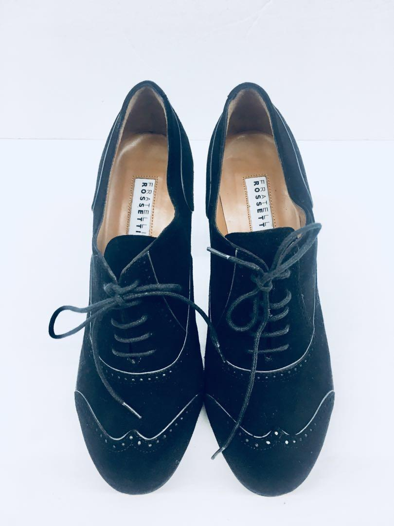 FRATELLI ROSSETTI Block Heel Wing Tip Derby Shoes Size 37 Made In Italy