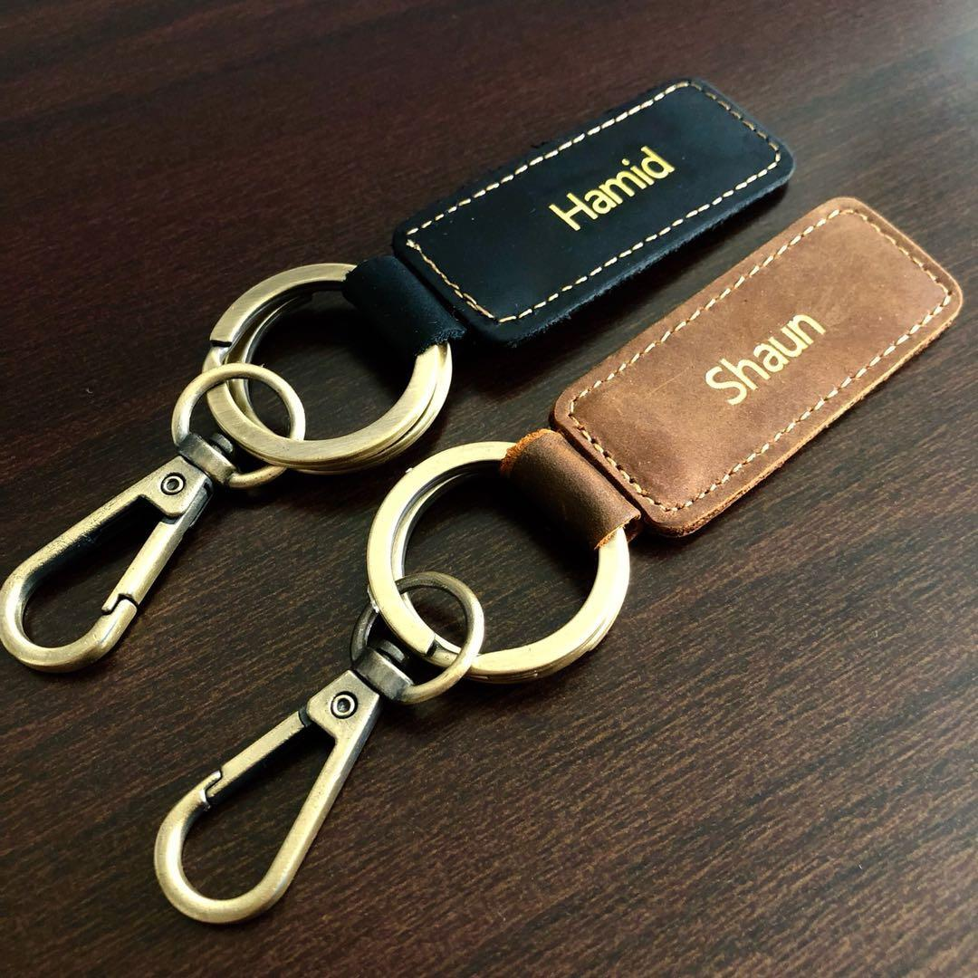 549d88800b Full Leather Keychain with Name Emboss Monogram / Keys / Gift ...
