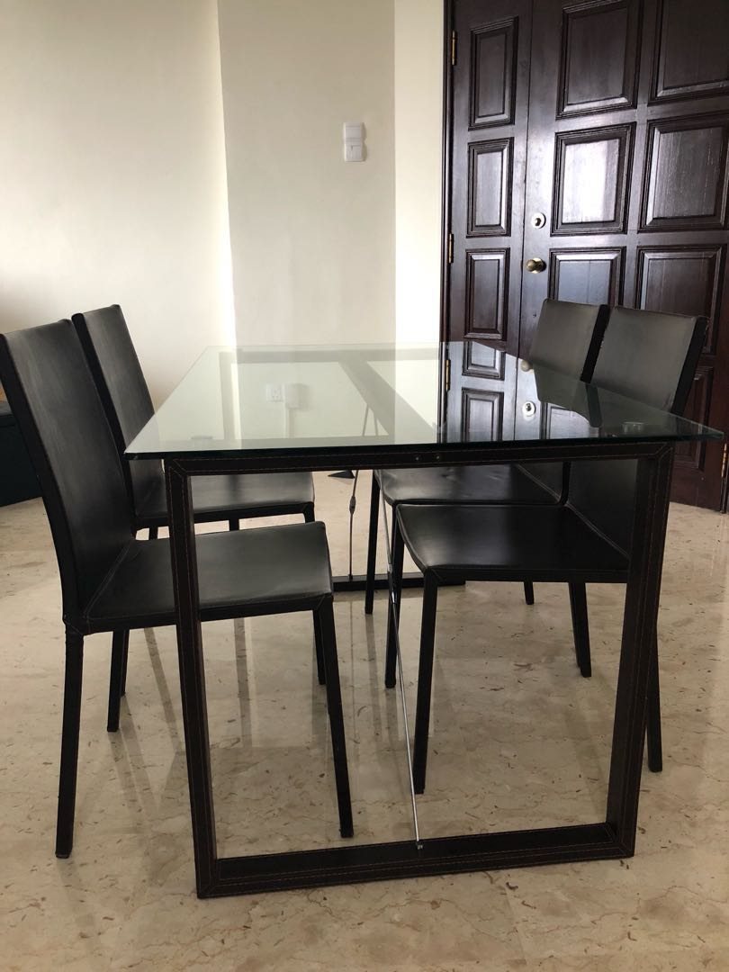 Glass Dining Table With 4 Chairs Furniture Tables Chairs On Carousell