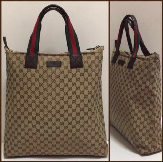 9ad4e2f4f72a32 GUCCI GG Canvas Unisex Tote Bag, Luxury, Bags & Wallets on Carousell