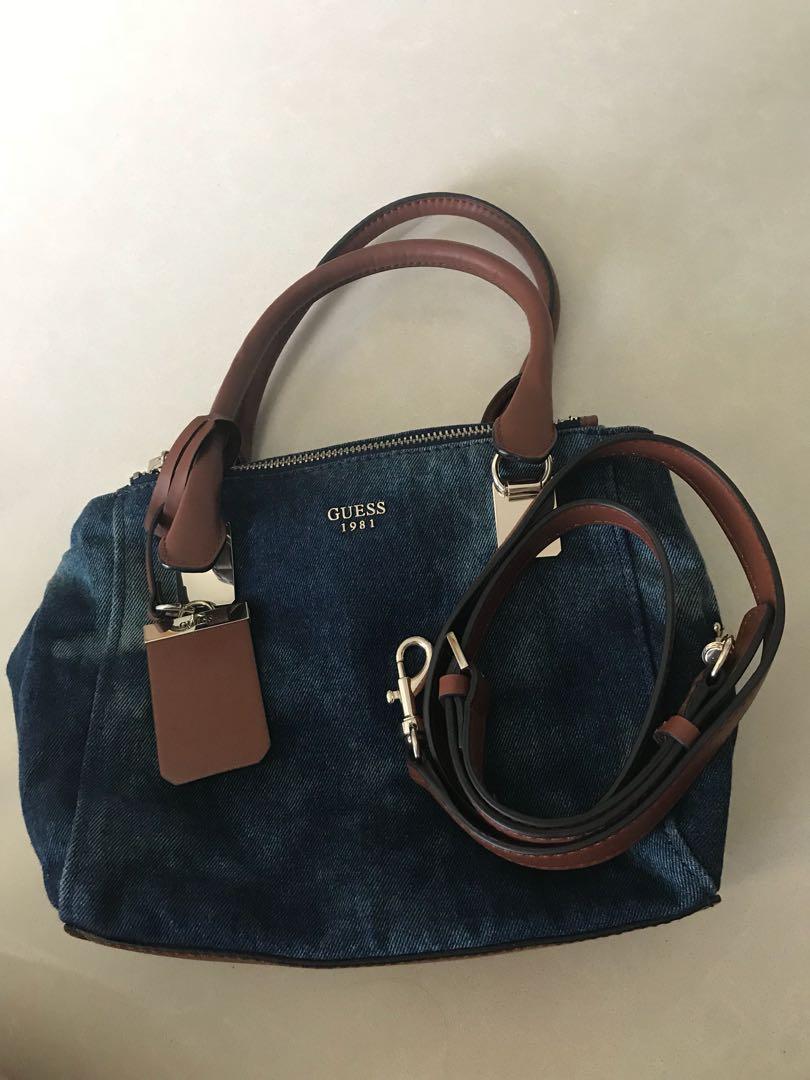 Guess Denim Handbag With Detachable Sling Strap Women S Fashion Bags Wallets Handbags On Carou