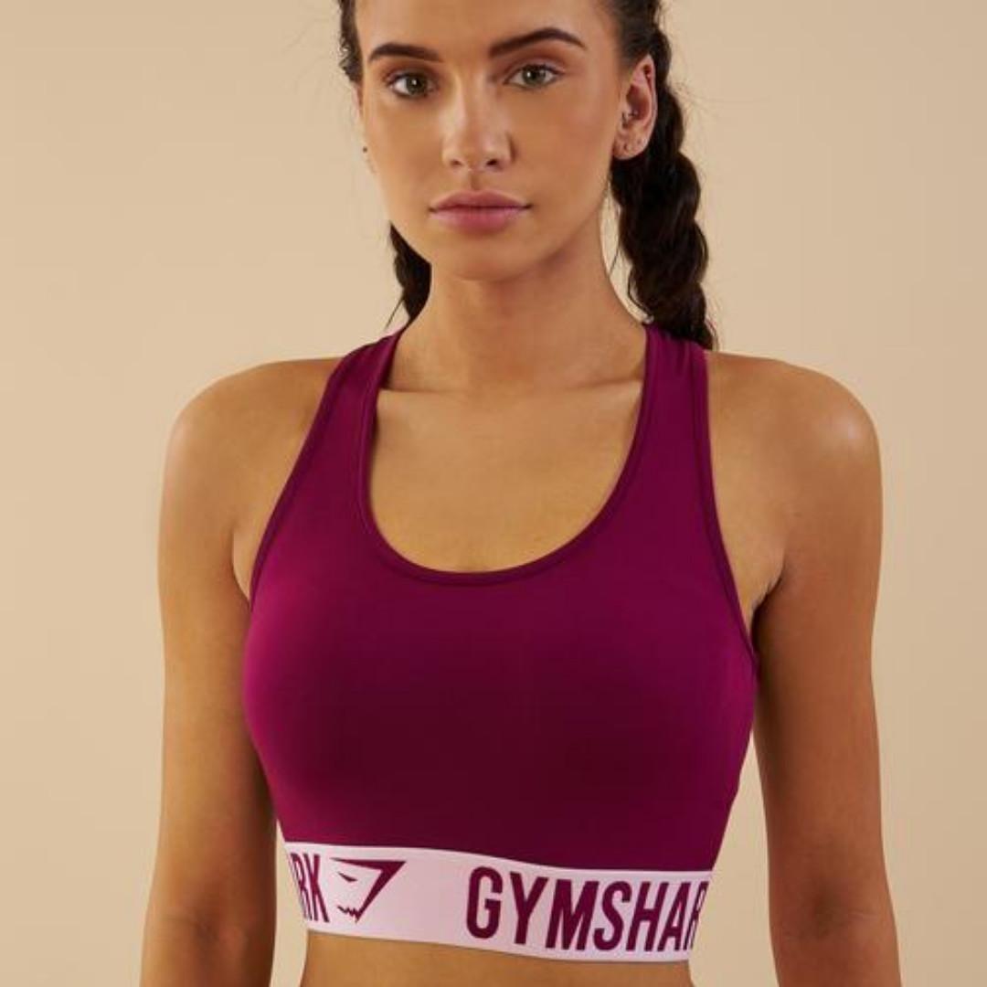 c3b6732b1a Gymshark Fit Sports Bra - Deep Plum Chalk Pink (Extra Small ...