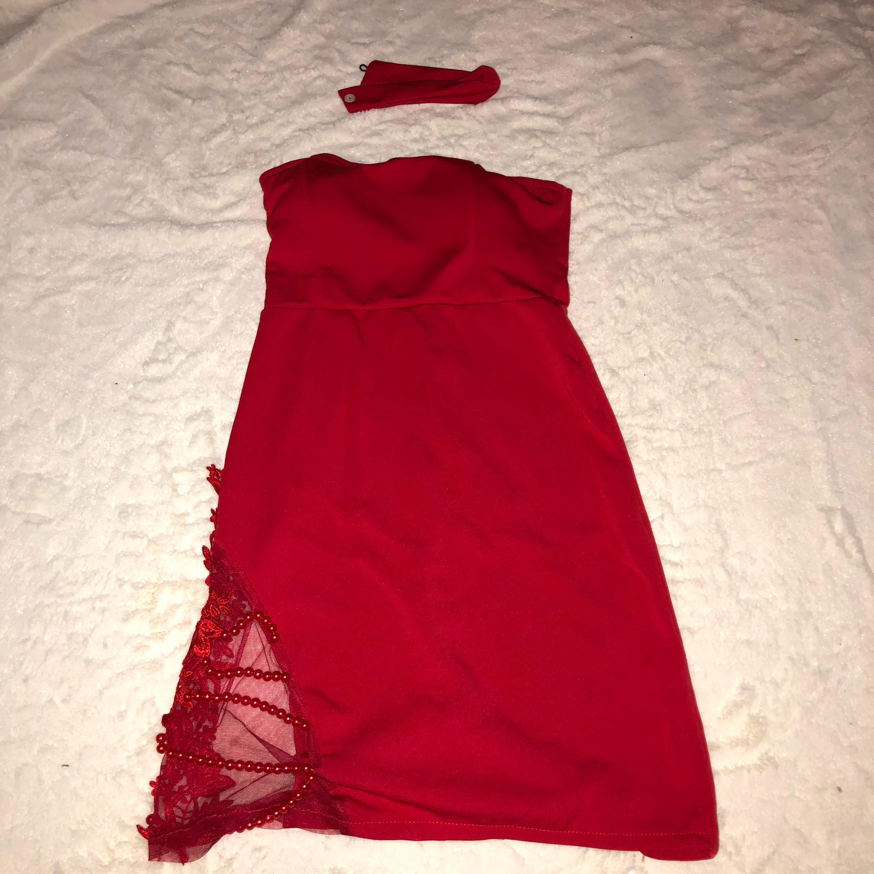 Lace beaded tube dress