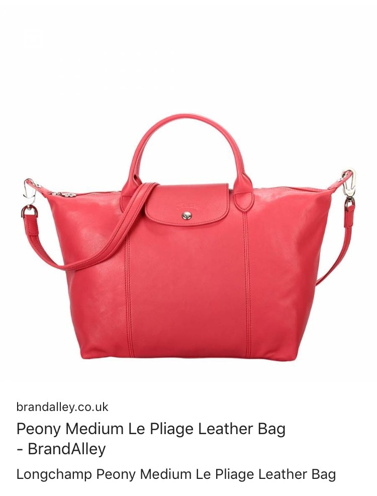 4da58035f05 Longchamp Peony medium Le Pliage leather bag, Luxury, Bags & Wallets ...