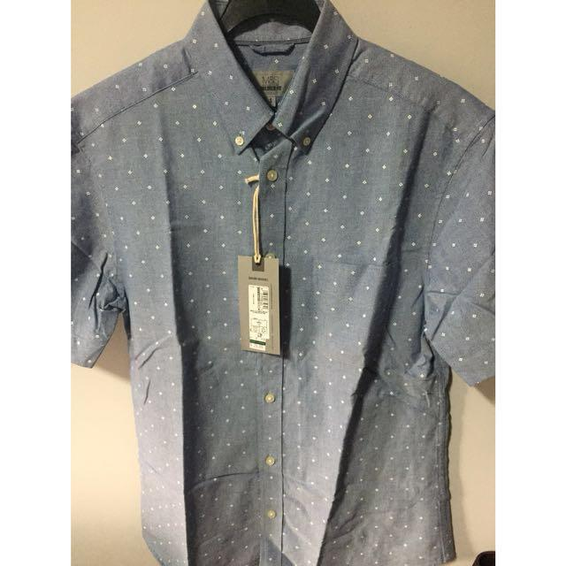 Marks & Spencer light blue printed shirt