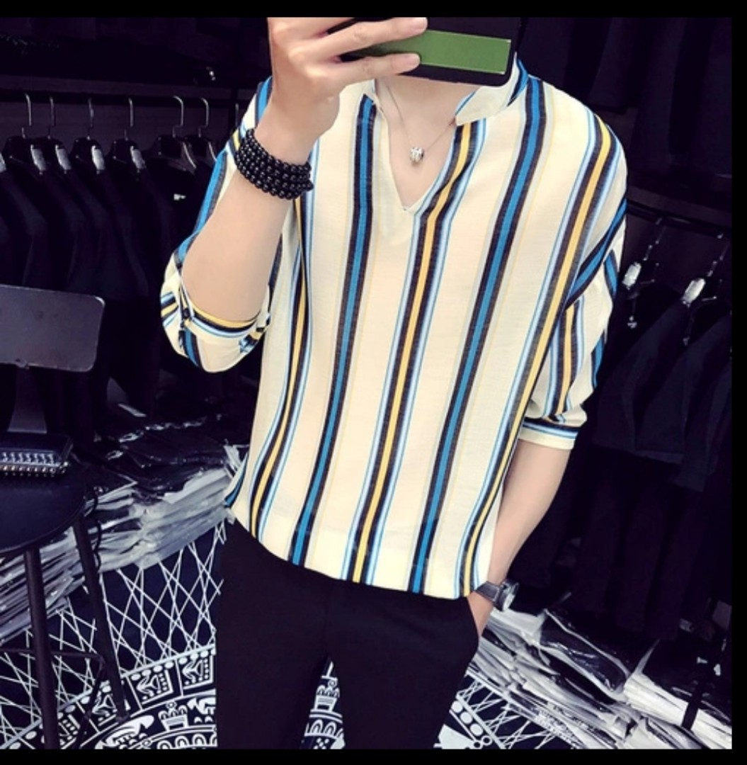 Men Fashion Korea Stripe Shirt Men S Fashion Clothes Tops On