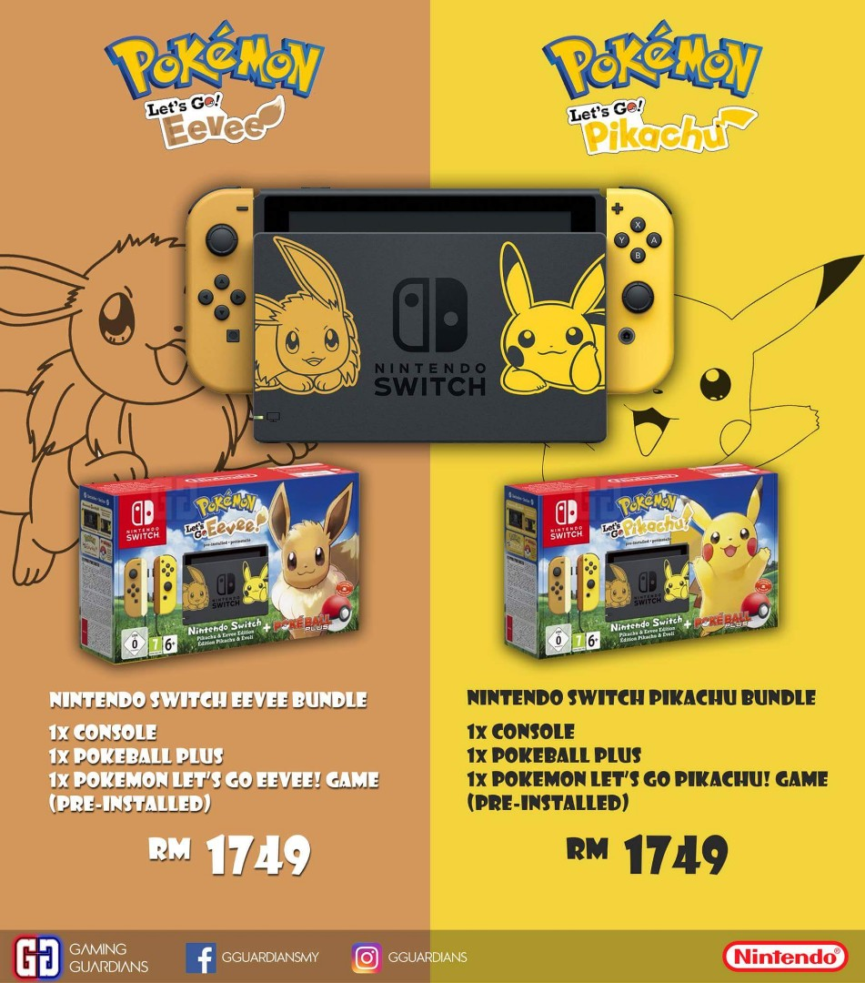 Nintendo Switch Console Pikachu Eevee Edition Video Gaming Video