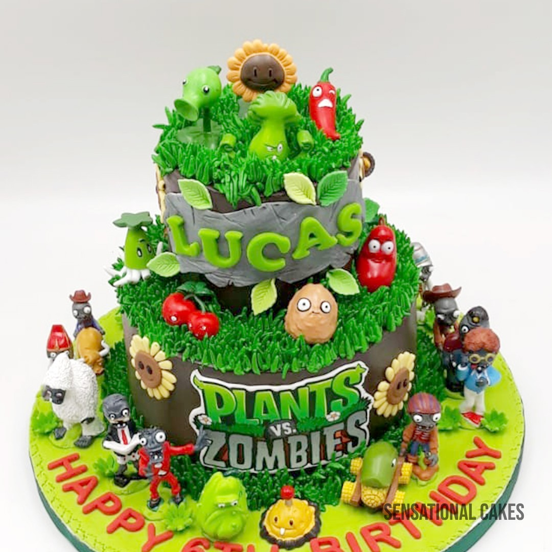 Plant Vs Zombies 3d Figurines 2 Tier Customized Cake