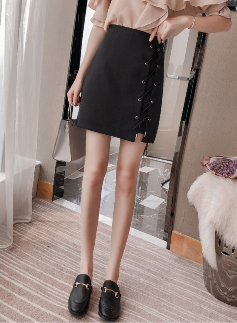 fd87837cc1 [PO] Ulzzang Lace-Up Short Skirt, Women's Fashion, Clothes, Dresses & Skirts  on Carousell