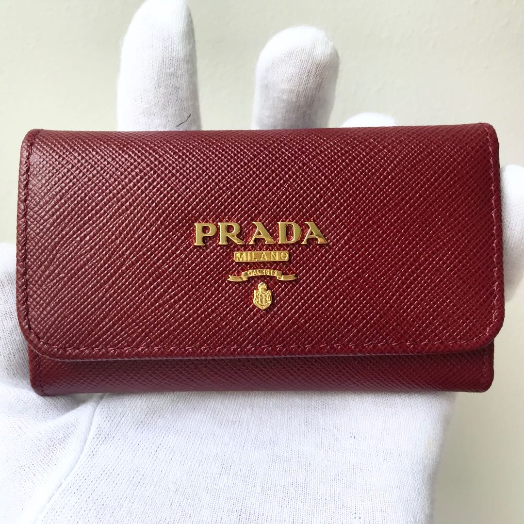 255f79287eaa4d PRADA Cerise Dark Red Saffiano Leather Key Holder Wallet 100 ...