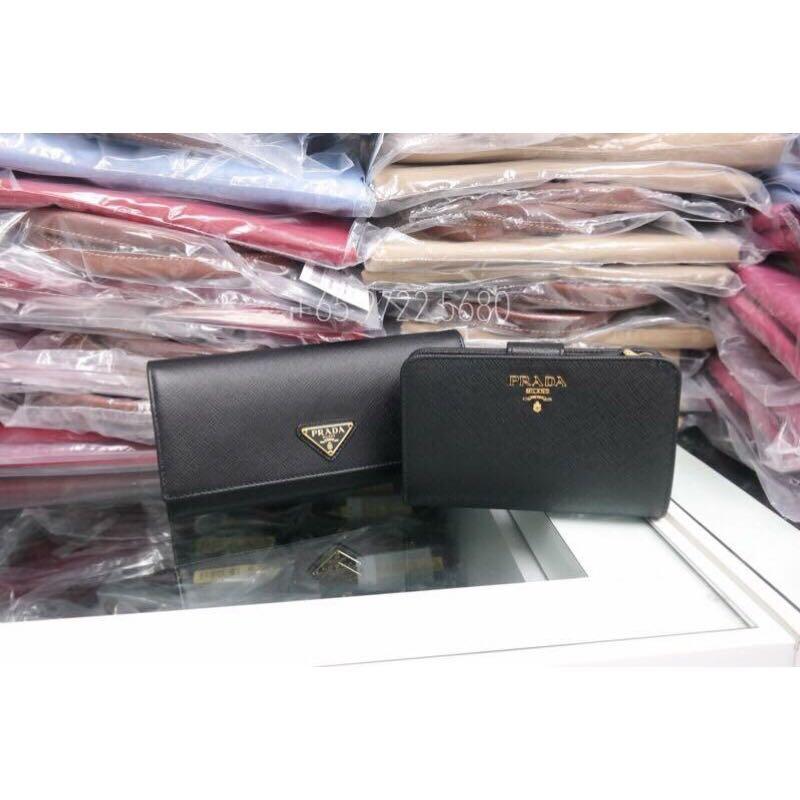80506d9fe6e2 Prada Saffiano Triang Wallet Black 1MH132 QHH F0002, Luxury, Bags ...