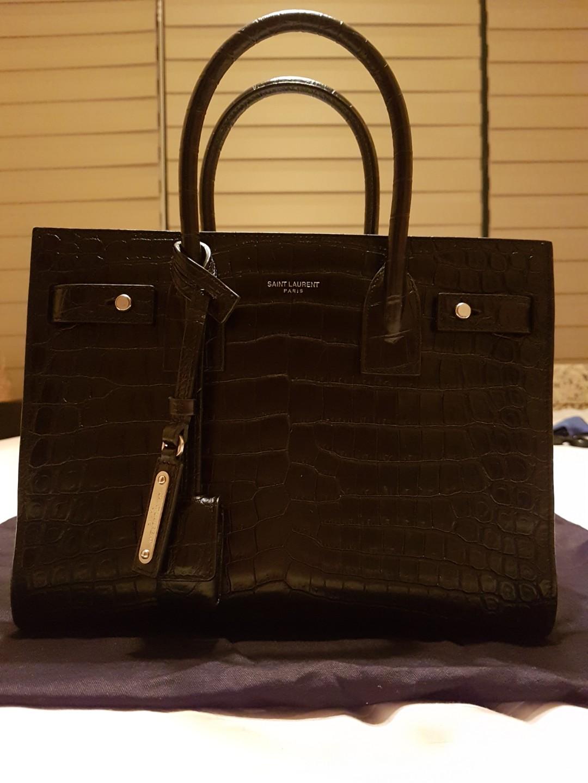 2f605a02f87 SAINT LAURENT Black Sac De Jour Baby croc-effect leather tote ...