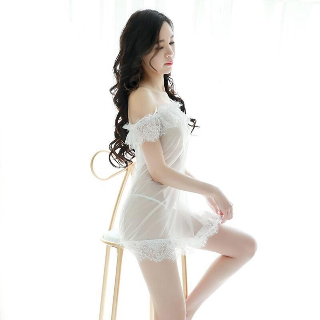 Shoulder Off -Length Nightdress, Lace Skirt Loose Sexy, Passionate Adult Pajamas, Underwear, Role-Playing Clothes #284 - White / Black