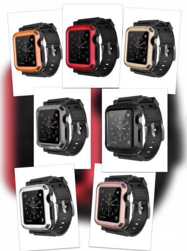 huge discount 21758 febb0 Simpeak Rugged Case for Apple watch 42mm all gens (Built-in Screen  Protector) - Black/Gray/Red/Gold/Rosegold/Silver/Orange (Comes with 2  additional ...