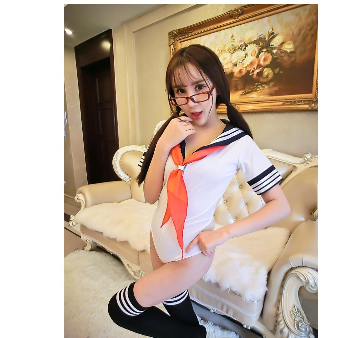 Temptation Siamese Triangle Swimsuit Sailor Suit Sexy Student Uniform Perspective Adult Appealing Clothes Cosplay #286