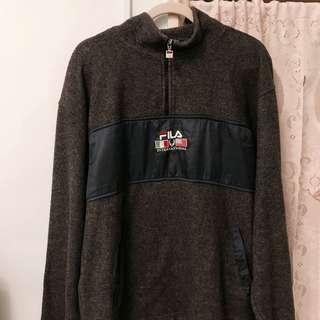Vintage 古著 Fila 半拉鍊 毛毛 外套 罩衫