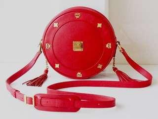 MCM Red Tambourine Red Leather Shoulder Bag