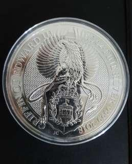 2018 UK 10 oz Queen Beast Griffin Silver coin