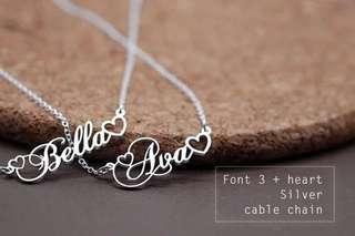 Double heartshape custom name necklace