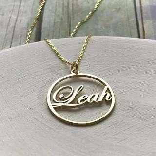 Custom name in a circle necklace