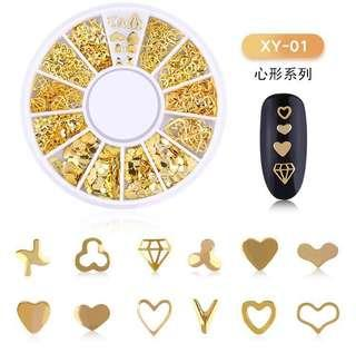 Mixed style 3d gold metal nail art decorations wheel beauty tool